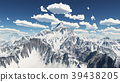 Mountain panorama with nice weather clouds 39438205