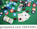 3D illustration casino game. Chips, playing cards 39443061