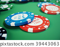 3D illustration playing chips, cards and money for 39443063