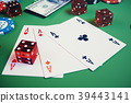 3D illustration casino game. Chips, playing cards 39443141