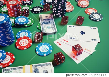 3d Illustration Casino Game Chips Playing Cards Stock Illustration 39443143 Pixta