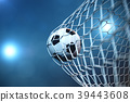 3d rendering soccer ball in goal. Soccer ball in 39443608