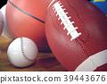 3d rendering sport balls on wooden backgorund. Set 39443676