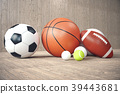 3d rendering sport balls on wooden backgorund. Set 39443681