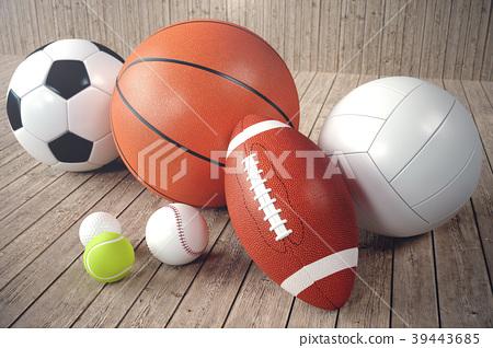 3d rendering sport balls on wooden backgorund. Set 39443685