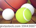 3d rendering sport balls on wooden backgorund. Set 39443687