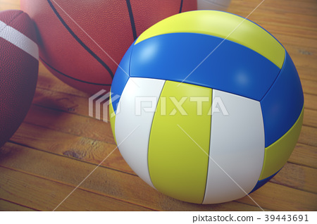 3d rendering sport balls on wooden backgorund. Set 39443691