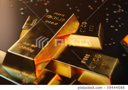 3D illustration close-up Gold Bars, weight of Gold 39444086