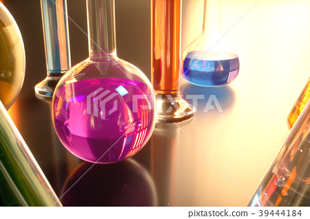 3d illustration of a chemical reaction, the 39444184