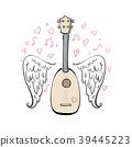 vector illustration with ukulele, 39445223