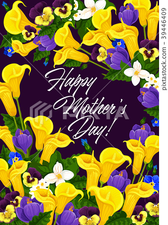 Mother Day greeting card in spring flower frame 39446409