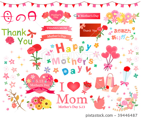 Mother's Day Carnation and Ribbon Illustration Material Collection 39446487