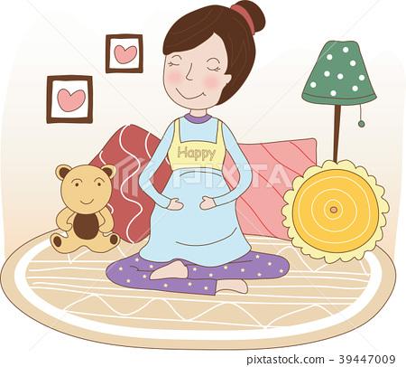 Pregnant woman's day illustration, vector, illustration 39447009