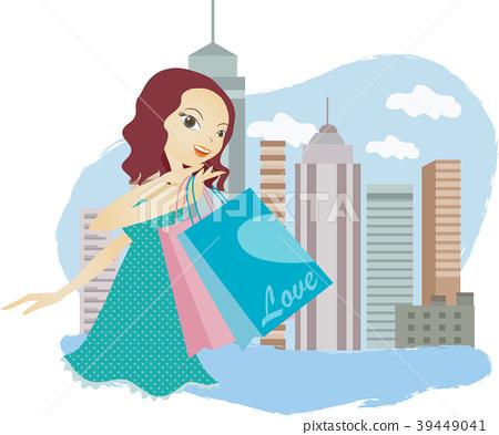 Shopping illustration, vector, illustration 39449041