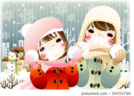 Winter illustration, vector, illustration 39450786