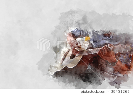 man playing Guitar on Watercolor painting. 39451263