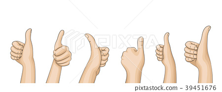 Many hands of people holding thumps up. 39451676