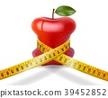 Dieting concept red apple with measuring tape on w 39452852