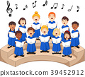 Choir girls and boys singing a song 39452912