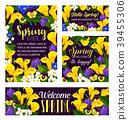 Vector spring flowers seasonal greeting posters 39455306