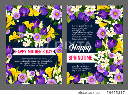 Mother Day Holiday Greeting Card Of Spring Flower 插圖素材