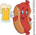 Cartoon hotdog drinking beer 39456092