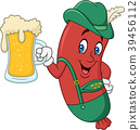 Cartoon sausage in traditional costume with beer 39456112
