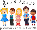 Cartoon group of children singing in the school ch 39456194