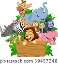 Cartoon wild animal with blank signboard 39457248