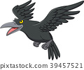 Cartoon crow flying isolated on white background 39457521
