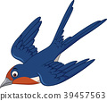 Cartoon swallow bird flying 39457563