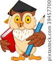 Cartoon owl holding pencil and book 39457700