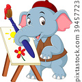 Cartoon cute elephant drawing a picture 39457723