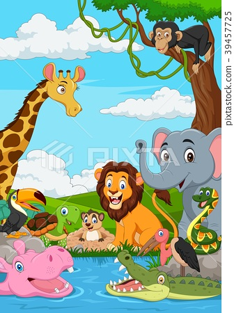Cartoon African landscape with wild animal 39457725