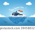 Orca or the killer whale sleeping on the iceberg. 39458632