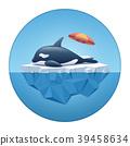 Orca or the killer whale sleeping on the iceberg. 39458634