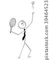 Cartoon of Businessman Playing Tennis and Trying 39464523