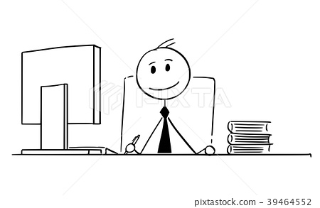 Cartoon of Smiling Businessman Working in Office 39464552