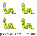 cartoon millipede character set isolated  39465066