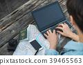 휴대용 컴퓨터,여권, 스마트폰,카메라, 손, 지도 39465563