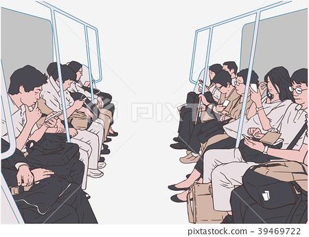 Illustration of people on public transport, metro 39469722