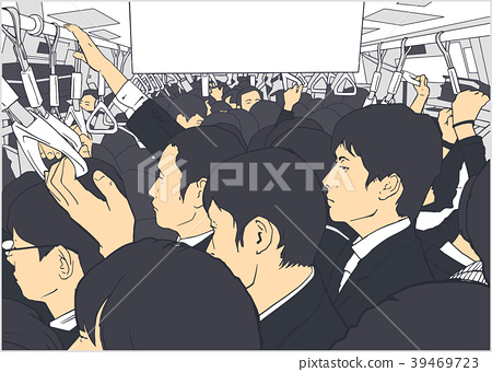 Illustration of salary men on metro in Tokyo 39469723