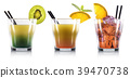 Set of cocktails in old fashioned glass with straw 39470738