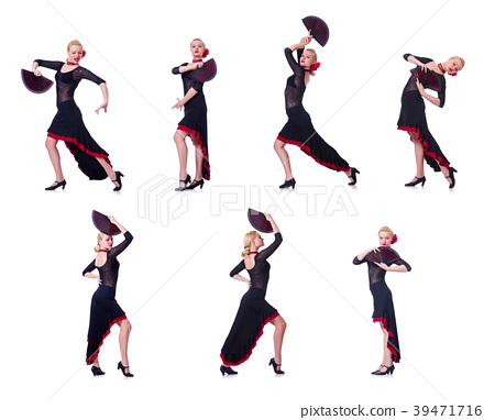 Woman dancing spanish dance isolated on white 39471716