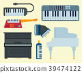 Keyboard musical vector instruments isolated 39474122