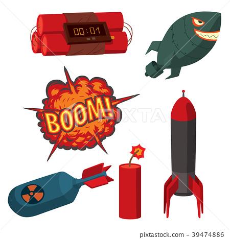 Bomb dynamite fuse vector illustration grenade - Stock Illustration