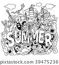 Hand drawn vector illustration set of summer  39475236