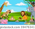 Cartoon African landscape with wild animals 39476341