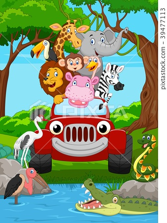 Cartoon wild animal riding a red car in the jungle 39477113