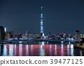 도시 풍경 스미다 강에 걸리는 清洲橋와 도쿄 스카이 트리의 라이트 업 39477125